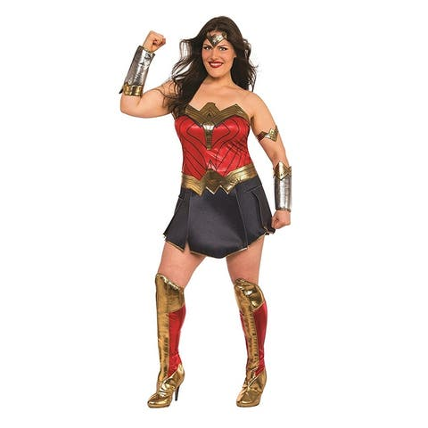 Justice League Movie Wonder Woman Deluxe Plus Size Costume - Red