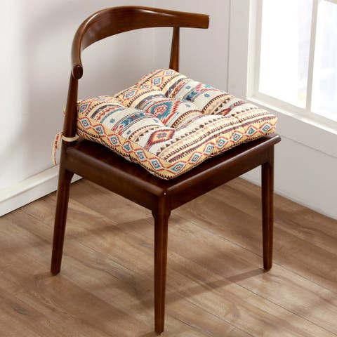 The Curated Nomad San Carlos Tan Triple Layered Chair Pad - 18 inches x 18 inches