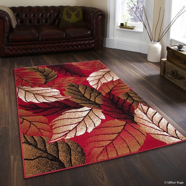 """Allstar Red Area Rug. Contemporary. Abstract. Traditional. Formal. Shapes. Spirals. Circles (5' 2"""" x 7' 1"""")"""
