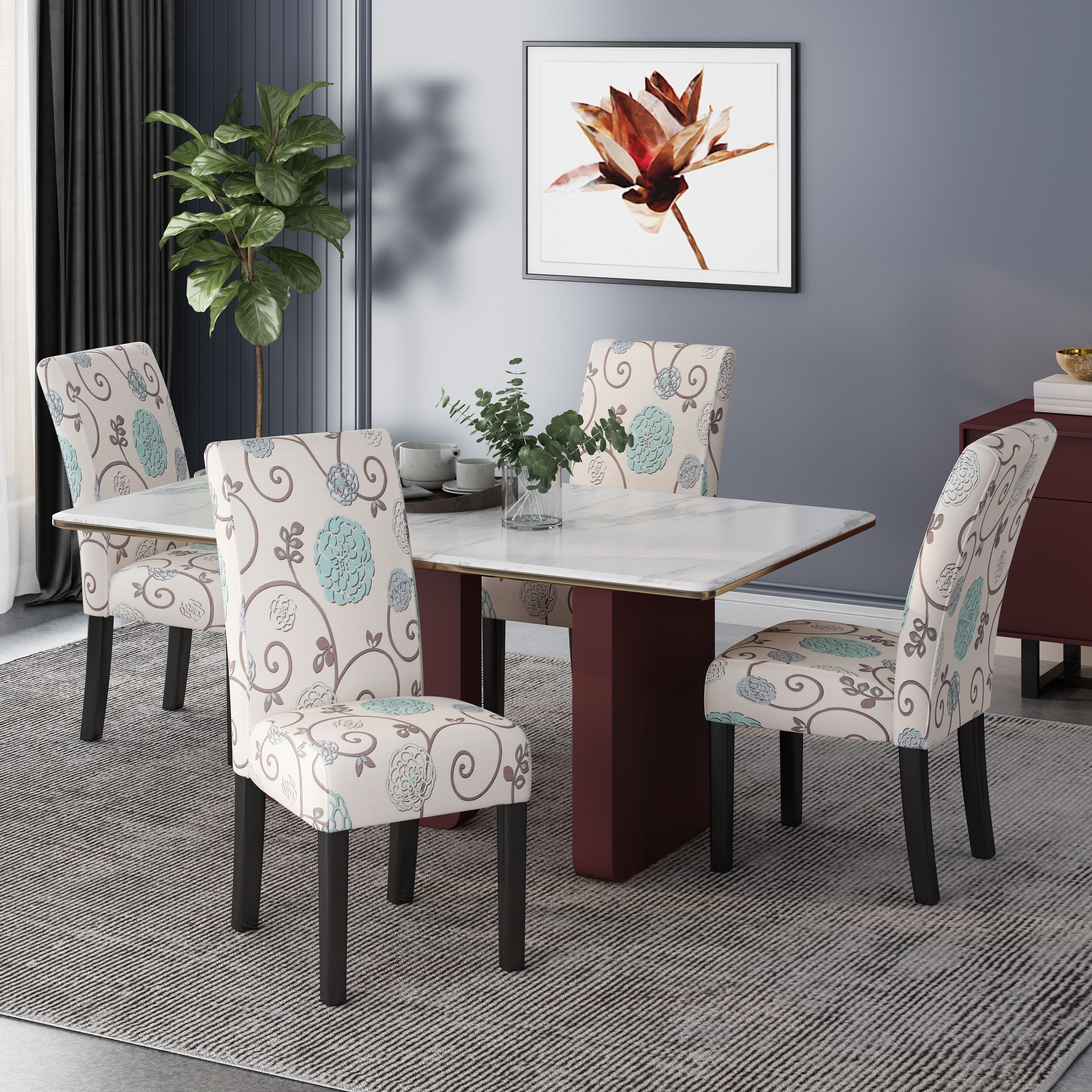 Pertica Patterned Upholstered Dining Chairs Set Of 4 By Christopher Knight Home Overstock 31294607