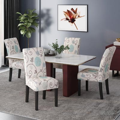 Pertica Patterned Upholstered Dining Chairs (Set of 4) by Christopher Knight Home