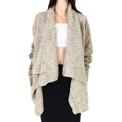 prAna Womens Sweater Taupe Brown Small S Knit Flyaway Demure Cardigan