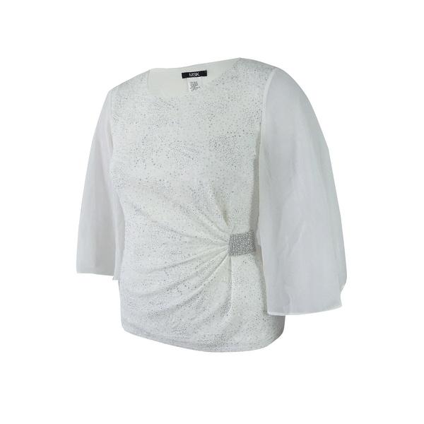 d0160bd1df6c5e Shop Msk Women's Rhinestone Flutter-Sleeve Metallic Blouse - On Sale - Free  Shipping On Orders Over $45 - Overstock - 20697590