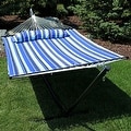 Sunnydaze 2-Person Quilted Hammock with Spreader Bars and Detachable Pillow - Hammock Stand Included - Thumbnail 7