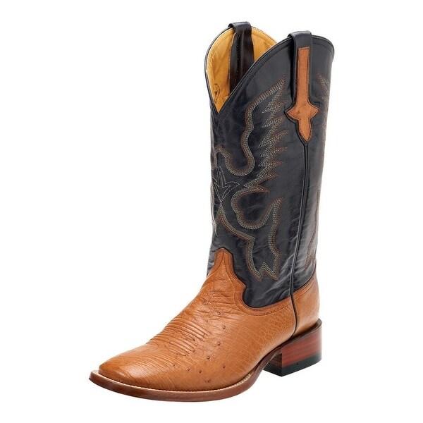 Ferrini Western Boots Mens Smooth Ostrich Cognac Navy