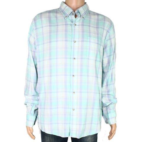 Southern Tide Mens Dress Shirt Mint Green Size XL Trim Fit Plaid