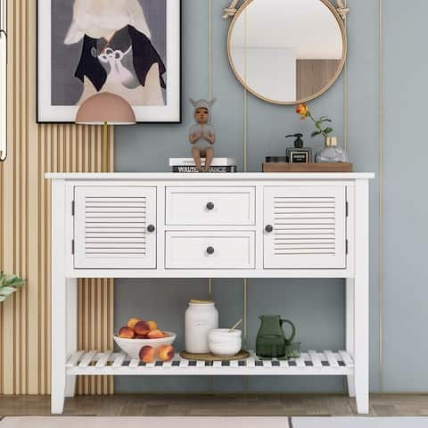 Retro Console Table Sideboard with Shutter doors, Drawers&Bottom Shelf