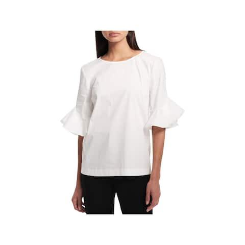 Calvin Klein Womens Pullover Top Sheer Ruffle Sleeves