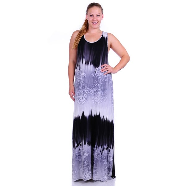 Simply Ravishing Women's Plus Size Tie Die Full Length Maxi Dress