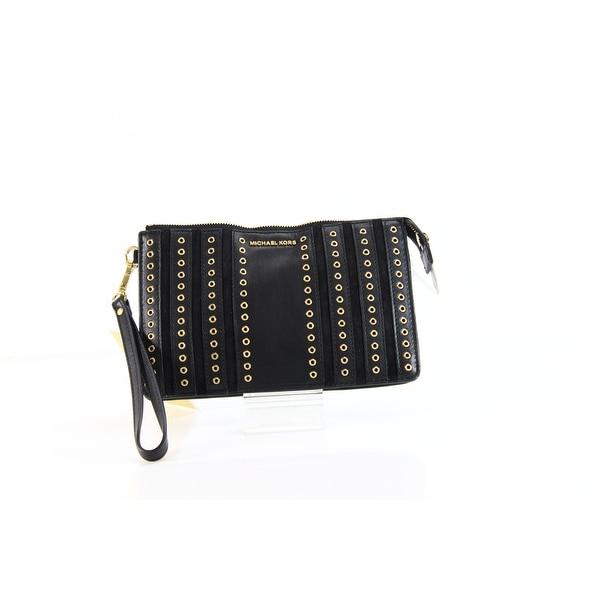 377625a7965c Shop Michael Kors NEW Black Suede Leather Brooklyn Grommet Clutch ...