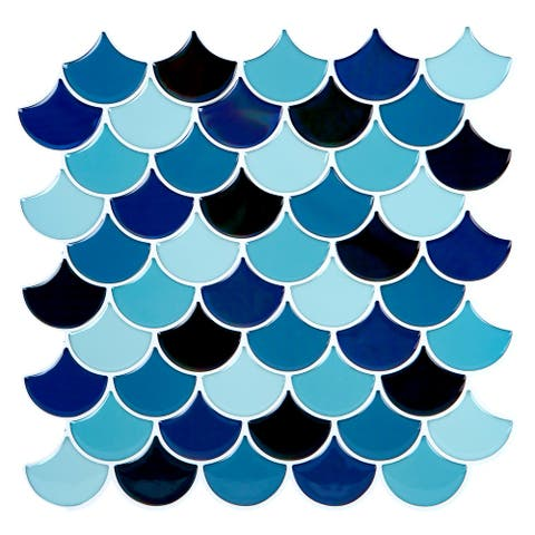 Simplify Peel & Stick Wall Tile 4 Pack in Scallop Blues