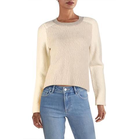 Rag & Bone Womens Davis Crewneck Sweater Wool Ribbed Trim - Ivory