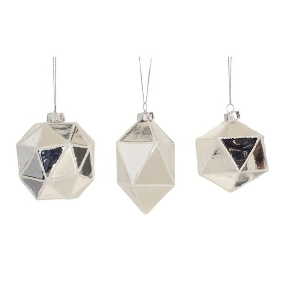 Club Pack of 24 Silver Geometric Shaped Ball, Drop and Onion Christmas Glass Ornament 4""
