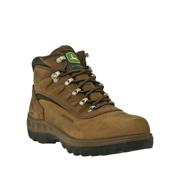 John Deere Work Boots Mens Waterproof Hiker Lacer Poplar Tan