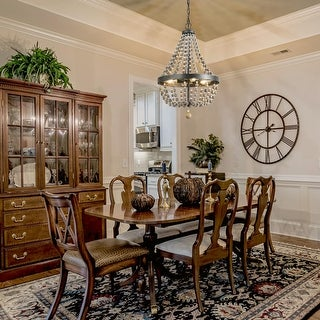 """Link to The Gray Barn Orchard Slope 4-light Wood Beads Chandelier Empire Wagon Wheel Lighting for Dining Room - W16.1""""x H25.4"""" Similar Items in Pendant Lights"""