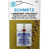 Schmetz Embroidery Twin Needle - Size 2.0/75