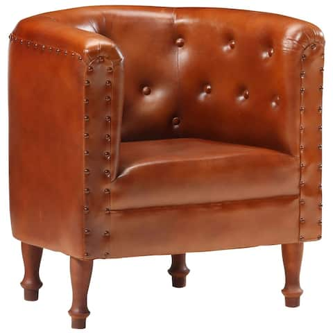 vidaXL Tub Chair Brown/Black/Gray Real Leather