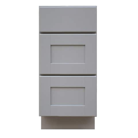 """Sunny Wood GSB15D-A Grayson 15"""" Wide Drawer Base Cabinet with Dovetail Drawer and Full Extension Soft Close Slides - Dove Gray"""
