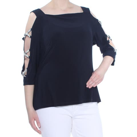 14e5c0a3eb7e2b MSK Womens Navy Embellished Cold Shoulder Lace Up 3/4 Sleeve Top Size: XXL