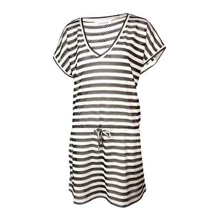 Calvin Klein Women's Mesh Stripe Belted Tunic Cover-Up