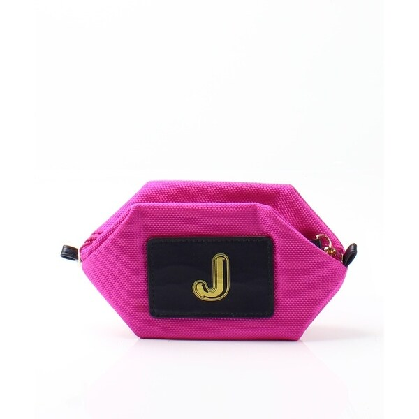 "Boulevard Bright Pink Monogram ""J"" Nylon Bubble Pouch Mini Wallet"