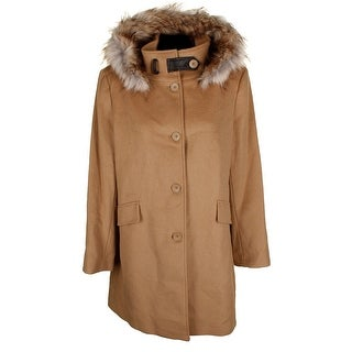 Dkny Camel Brown Faux-Fur-Trim Full Button Hooded Coat XL