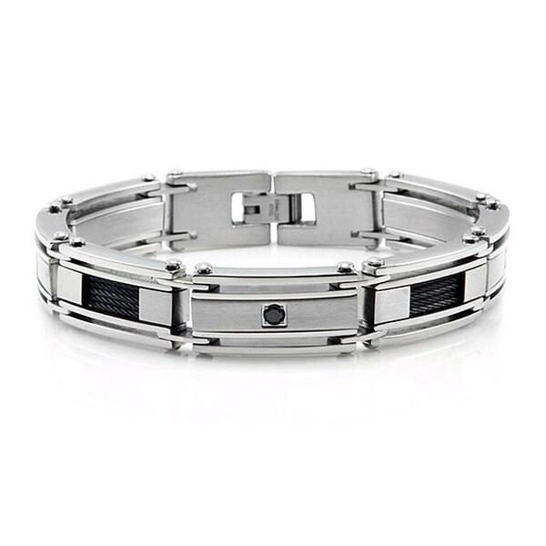 Men's Stainless Steel Bracelet w/ Black Cubic Zirconia Set - 8.5 inches