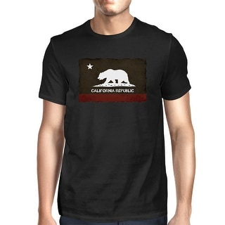 California Republic Flag Men's Graphic tee - Cool Black T-Shirt