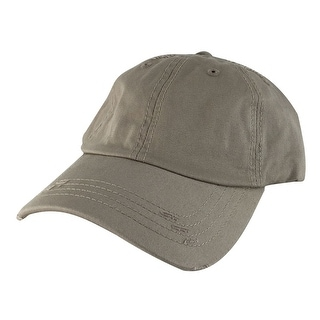 959 Curve Visor Cotton Unstructured Vintage Frayed Strapback Hat Cap - Khaki