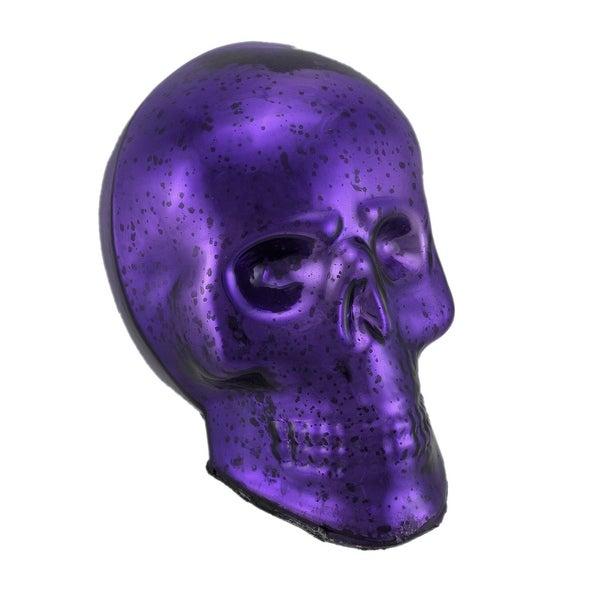 Purple Mercury Glass Skull Statue - 8.75 X 9.5 X 6.5 inches
