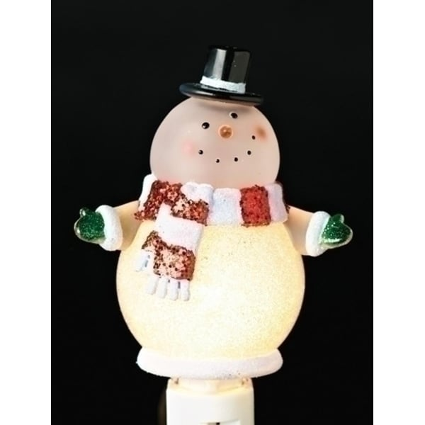 "6"" Christmas Whimsy Glitter Accent Goofy Snowman Night Light - White"