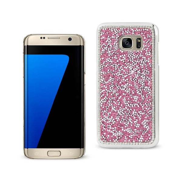REIKO SAMSUNG GALAXY S7 EDGE JEWELRY BLING RHINESTONE CASE IN PINK