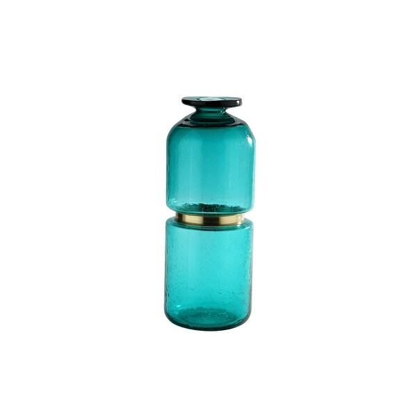 "15.5"" Aqua Blue Solid Glass Vase - N/A"