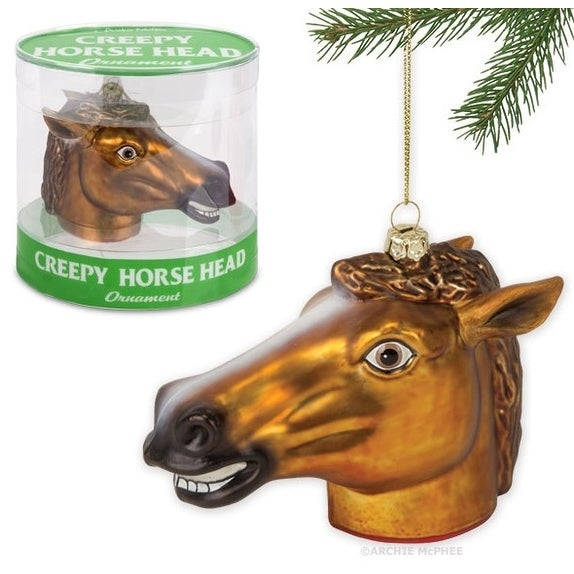 "Creepy Horse Head 4.5"" Glass Holiday Ornament"