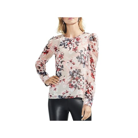 Vince Camuto Womens Blouse Puff Shoulder Long Sleeves