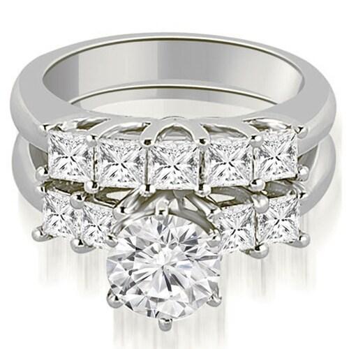 1.50 cttw. 14K White Gold Princess and Round Cut Diamond Engagement Bridal Set