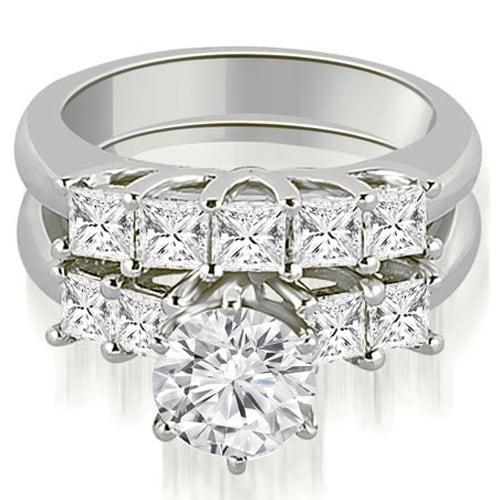 1.75 cttw. 14K White Gold Princess and Round Cut Diamond Engagement Bridal Set