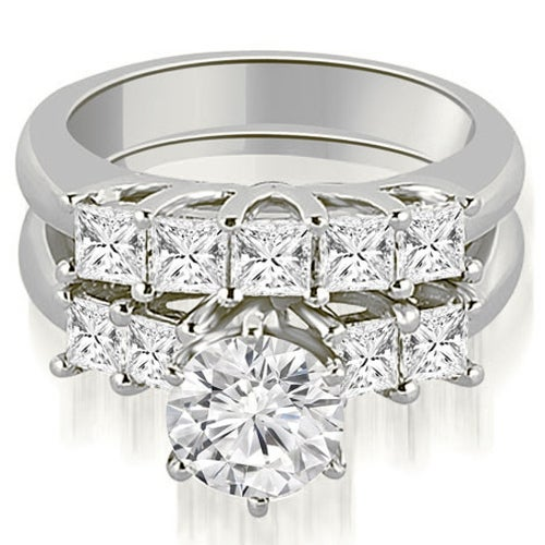 2.00 cttw. 14K White Gold Princess and Round Cut Diamond Engagement Bridal Set