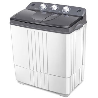 Costway Portable Mini Compact Twin Tub 20Lbs Total Washing Machine Washer Spain spinner - Gray and White