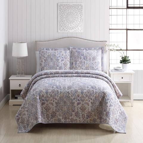 Lola Flourishing Florals Cotton Embroidered 3-Piece Quilt Set