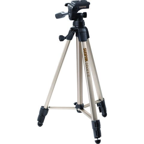 Sunpak 620-060 tripod with 3-way pan head (folded height: 20.3; extended height: 58.32; weight: 2.8lbs; includes 2nd