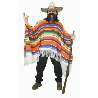 Mexican Serape Poncho Adult Costume - Orange
