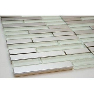 TileGen. Rom Random Sized Mixed Material Tile in Silver in White/Silver Wall Tile (10 sheets/9.8sqft.)