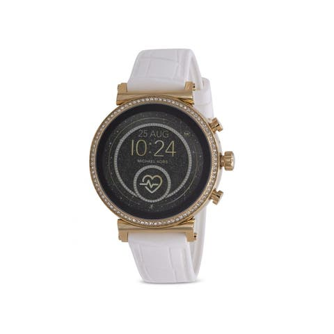 Michael Kors Women's Access Stainless Steel Touch-Screen Smartwatch With White Silicone Strap - One Size