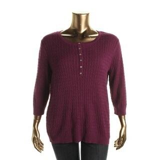 Karen Scott Womens Plus Cable Knit Marled Henley Sweater