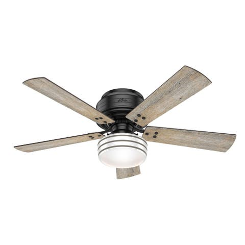 """Hunter 52"""" Cedar Key Outdoor Low Profile Ceiling Fan with LED Light Kit and Handheld Remote, Damp Rated"""