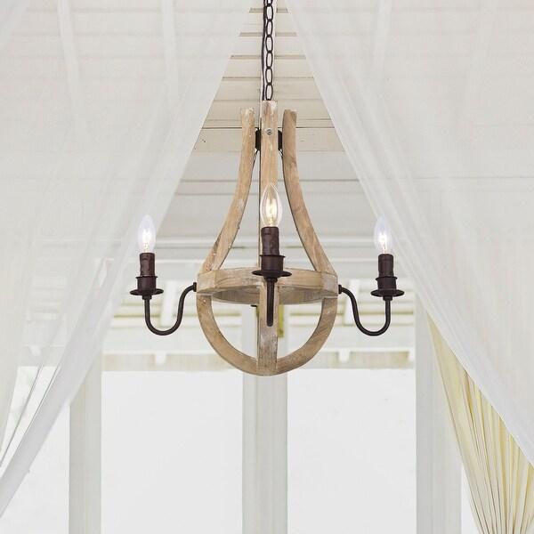 Distressed Wood Chandelier: Shop Farmhouse 4-Light Floyer Distressed Wood Chandelier