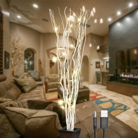 36Inch 16LED Natural Willow Twig Lighted Branch for Home Decoration USB Plug-in and Battery Powered - White - 36""