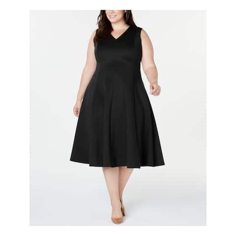 CALVIN KLEIN Black Sleeveless Midi Fit + Flare Dress Size 14W