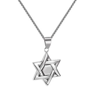 """Star Of David Pendant Vintage Stainless Steel Box Necklace 2mm 24"""" Religious"""